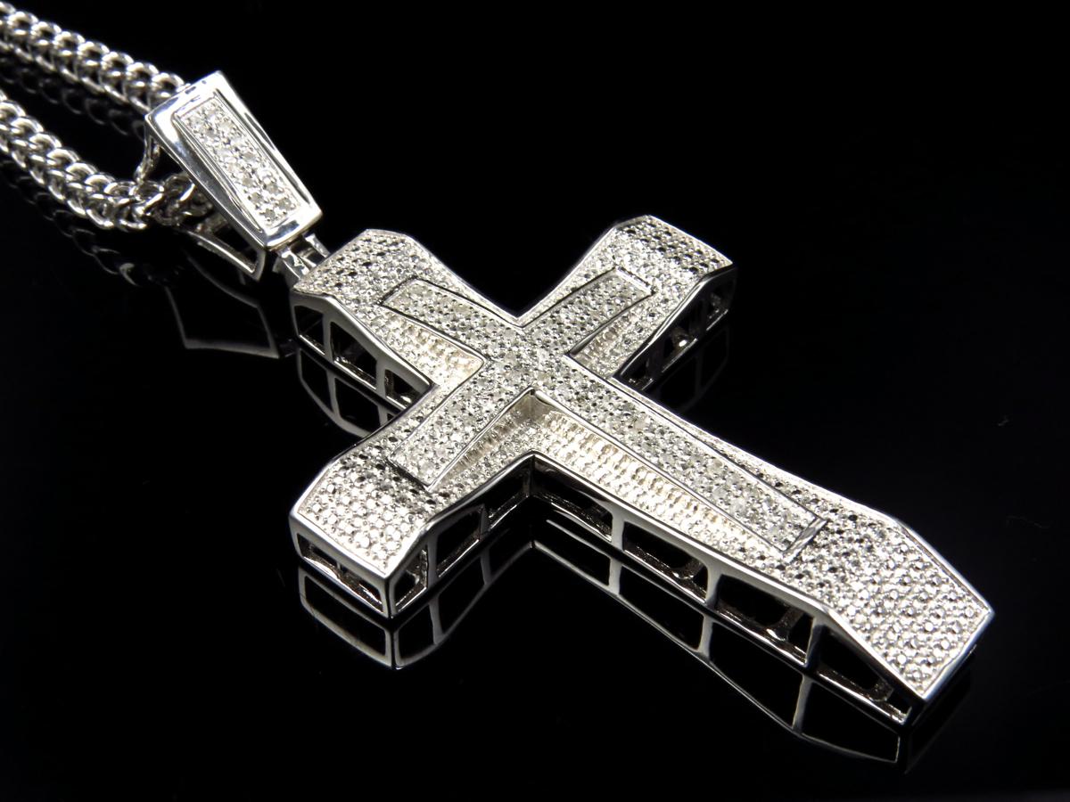 Genuine Diamond Cross Pendant Charm Amp Chain In White Gold