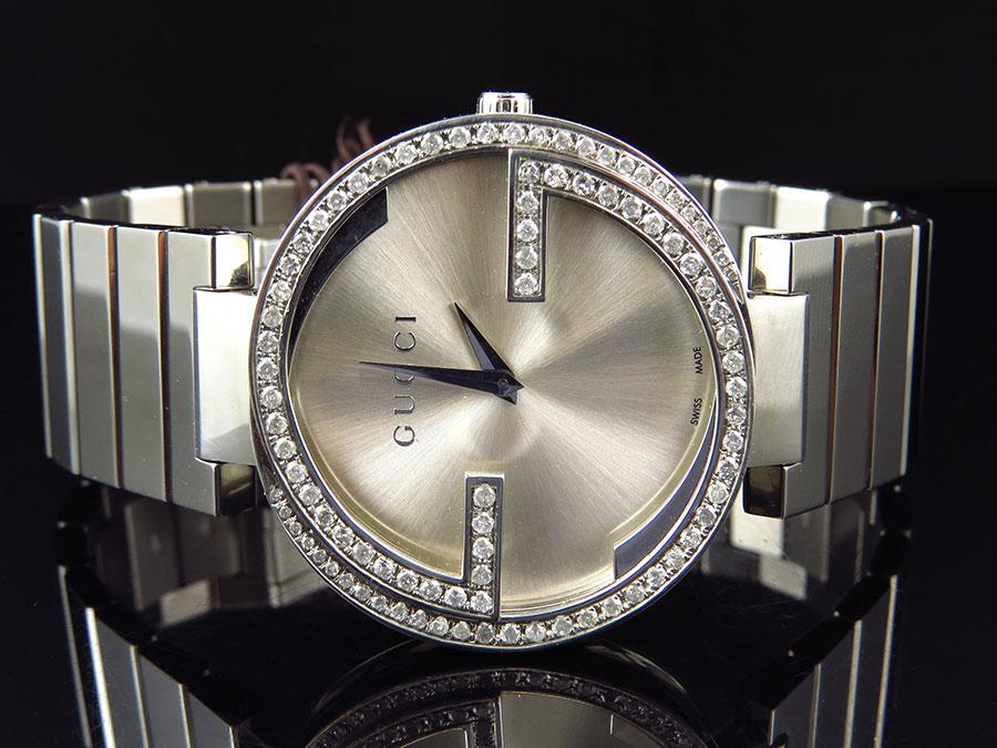 b87ffa813d2 Details about Unisex Gucci Stainless Steel 37 MM Interlocking GG Diamond  Watch 2.0 ct YA133308