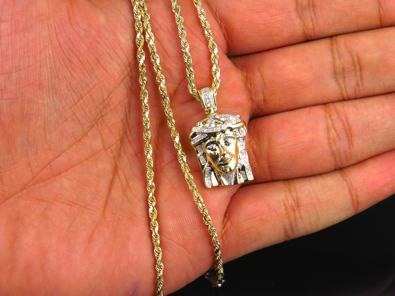 Genuine white diamond micro pave jesus piece chain in 10k yellow genuine white diamond micro pave jesus piece chain in 10k yellow gold 1 33ct ebay aloadofball Image collections